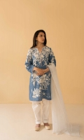 Sapphire blue straight fit kurta with embroidery all over, paired with a tapered ivory shalwar and white embroidered dupatta with pink details Finish off your look with metallic accessories