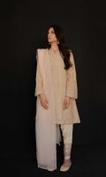 Sandy fawn straight fit kurta with sequin embroidery all over, paired with an ivory embroidered shalwar and chai pink dupatta Wear a nude or a a bold lip color