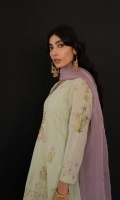 Fern green loose fit kurta with sequin embroidery all over, paired with our classic tapered shalwar and a lilac dupatta Rock your look by wearing gold and crystal danglers