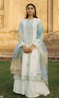 Embroidered Jacquard Shirt Front and Back Embroidered Sleeves Embroidered Neck Line and Border Patch Block Printed Organza Dupatta With Embroidered Patti Dyed Jacquard Trouser