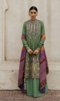 Embroidered Border on Digital Printed Front Digital Printed Back and Sleeves Embroidered Neck Line Digital Printed Silk Dupatta Digital Printed Trouser