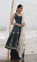 Fully Embroidered shirtfront and back with sleeves Embroidered border patti Woven jacquard dupatta Dyed cambric trouser