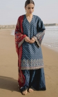 Fully tilla Embroidered shirt front, back and sleeves with chiffon Digital Printed dupatta Embroidered cambric trouser with Embroidered border patti