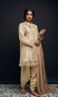 Raw-Silk Angrakha shirt with embellishment and tassle details  Raw-silk side tulip shalwar  printed silk dupatta.