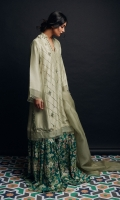 Raw-Silk Angrakha shirt pin-tucks  embellishment and frayed edges details Raw-silk floral printed gharara.