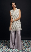 Raw Silk printed shirt with crystal work, organza and frayed edges details  sharara pants with pearl details.