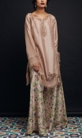Raw-Silk shirt with embellishment and frayed edges details Raw-silk floral printed sharara.