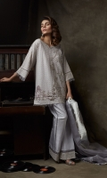 Embroidered, georgette chiffon shirt with asymetric embellishment on hem and shirt front and frayed edges details  Screen-printed boot-cut pants also included.