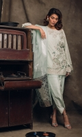 Embroidered shirt with asymetric embellishment on hem and shirt front and frayed pearl details Screen-printed tulip shalwar also included.
