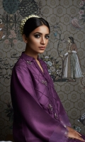 Raw-Silk shirt with pin-tucks, embellishment and frayed edges details  Raw-silk side tulip shalwar with frayed edges also included
