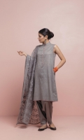 Sleeveless band collar flared nickel grey shirt with pockets a delicate motif embroidered all over and tea pink finishing. Paired with a sleek shalwar embroidered at the hem and an embroidered floral scalloped organza dupatta.