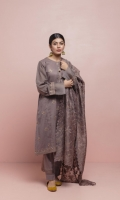 Grey peppercorn round neckline panelled kurta with embroidered motif and ladder lace inserts and pin tuck and organza details on the sleeves coupled with straight organza insert pants. The outfit is accentuated with intricately embroidered organza dupatta.