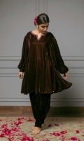 Brown colored velvet tunic with an embroidered neckline, while the sleeves are embellished with cross-stitch embroidery