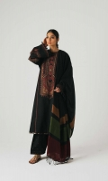 A deep black embroidered shirt with panni embedded within the embroidery It has an embroidered neckline and sleeves, with additional embroidered pattis for the side seams It is paired with a jacquard shawl and an embroidered shalwar Yardage:Jacquard Shawl- 2.65 Yard Embroidered Neckline Front on Dyed Khaddar- 1.32 Yard Back Dyed Khaddar- 1.32 Yard Embroidered Sleeve on Dyed Khaddar- 1.32 Yard Embroidered Patti A- 2.45 Yard Embroidered Patti B- 5 Yard Embroidered Patti C- 2.45 Yard Embroidered Patti D- 1 Yard Embroidered Khaddar trouser- (2 PC) 2.5 Yard