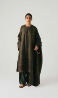 A dull green printed shirt with heavily embroidered borders and neckline patti, with extensive embroidery on the sleeves and back It is paired with rich jacquard shawl and plain dyed trousers. Yardage:Jacquard Shawl- 2.65 Yard Embroidered Front on Printed Linen- 1 Yard Embroidered Back on Printed Linen- 1 Yard Embroidered Sleeve on Printed Linen- 0.65 Yard Embroidered Neckline Patti Embroidered Patti- 2 Yard Plain Linen trouser- 2