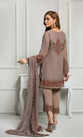 Shirt Front: Embroidered Chiffon  Shirt Back: Embroidered Chiffon  Neckline: Embroidered Patch  Sleeves: Embroidered Chiffon  Dupatta: Embroidered Two Side Border  Front & Back Lace: Embroidered  Sleeves Lace: Embroidered Patch  Trouser Lace: Embroidered Lace  Trouser: Dyed Grip