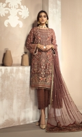 Shirt Front: Embroidered Chiffon  Shirt Back: Embroidered Chiffon  Sleeves: Embroidered Chiffon  Dupatta: Embroidered Chiffon Pallu  Front & Back Lace: Embroidered Chiffon  Sleeves Lace: Embroidered Chiffon  Trouser: Dyed Grip