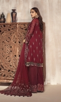 Shirt Front: Embroidered Chiffon  Shirt Back: Embroidered Chiffon  Sleeves: Embroidered Chiffon  Dupatta: Embroidered Chiffon Pallu  Trouser Lace: Embroidered Border  Trouser: Dyed Grip