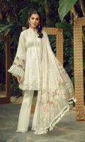 Self Embroidered Front 1.25m Self Embroidered Sleeves 0.75m  Lawn back 2.5m Cotton Trousers 2.5m Embroidered Daman Patch Embroidered Neck Patch  Embroidered Sleeves Border Embroidered Neck Border  Embroidered Trousers Motif  Embroidered Birds Motif