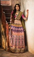 Blouse:  Embroidered Raw silk Blouse Embroidered Rawsilk Sleeves Lehnga:  Digital Printed Rawsilk Lehnga Panels Embroidered Lehnga Border Dupatta:  Embroidered Dupatta Border Dyed Mukesh Dupatta