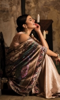 Blouse:   Dyed Rawsilk Blouse Cut work Embroidered Border  Saree:  Digital Printed Charmeuse Silk Saree