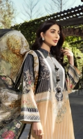 Digital Print Lawn Front  Digital Print Lawn Back  Digital Print Lawn Sleeves  Embroidered Neck Border  Embroidered Trousers Patch  Dyed Cotton Trousers  Digital Print Chiffon Dupatta
