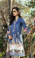 Digital Print Lawn Front & Back  Digital Print Lawn Sleeves  Embroidered Sleeves Border  Embroidered Neck Border  Embroidered Trousers Border  Digital Print Border  Digital Print Chiffon Dupatta  Dyed Cotton Trousers