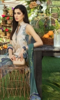 Digital Print Lawn Front  Digital Print Lawn Back  Digital Print Lawn Sleeves  Embroidered Neck Patch  Embroidered Daman Border  Embroidered Trousers Border  Digital Print Chiffon Dupatta  Dyed Cotton Trouser