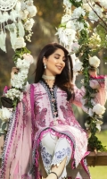Digital Print Lawn Front  Digital Print Lawn Back  Digital Print Lawn Sleeves  Embroidered Neck Border  Embroidered Trousers Patch  Digital Print Chiffon Dupatta  Dyed Cotton Trouser