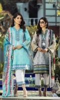 Digital Print Lawn Front  Digital Print Lawn Back  Digital Print Lawn Sleeves  Embroidered Neck Border  Embroidered  Sleeves Border  Embroidered Trousers Border  Dyed Cotton Trousers Digital Print Silk Dupatta
