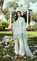 Dyed Self Jacquard Embroidered Front  Dyed Self Jacquard Embroidered Sleeves  Dyed Self Jacquard Back Embroidered Daman Border   Embroidered Sleeves Border  Embroidered Neck Border   Dyed Embroidered Cotton Net Dupatta  Dyed Cotton Trousers