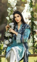Digital Print Lawn Front  Digital Print Lawn Back  Digital Print Lawn Sleeves  Embroidered Daman Border  Embroidered Sleeves Border  Digital Print Chiffon Dupatta  Dyed Cotton Trouser