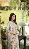 Embroidered Lawn Front  Embroidered Lawn Side Panels  Digital Print Lawn Sleeves  Digital Print Lawn Back  Embroidered Daman Border  Digital Print Trousers Border  Dyed Cotton Trousers  Digital Print Silk Dupatta