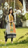 Digital Print Lawn Front  Digital Print Lawn Back  Digital Print Lawn Sleeves  Embroidered Daman Border  Embroidered Sleeves Border  Embroidered Neck Border  Digital Print Chiffon Dupatta  Dyed Cotton Trouser
