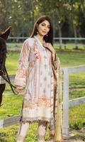 Digital Print Lawn Front  Digital Print Lawn Back  Digital Print Lawn Sleeves  Embroidered Daman Border  Embroidered Sleeves Border  Digital Print Border  Digital Print Chiffon Dupatta  Dyed Cotton Trouser