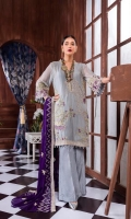 Embroidered Front 0.8 Meter Embroidered Back 0.8 Meter Embroidered Sleeves 0.66 Meter Chiffon Dupatta 2.5 Yard