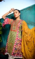 Embroidered Lawn Front Printed Lawn Back Printed Lawn Sleeves Embroidered Chiffon Dupatta Dyed Cotton Trouser