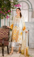 Front Digital embroidered Karandi Back and sleeves digital printed Digital Embroidered Side Scalloped Dupatta chiffon Dyed Karandi Trouser
