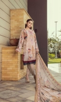 Front Embroidered with digital Printed  Back And sleeves Digital printed  Digital Printed With side scalloped Embroidery Chiffon Dupatta  Dyed Cotton Trouser