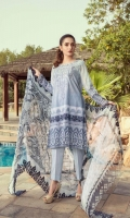 Embroidered Lawn Un-Stitched 3 PieceFront Embroidered with digital Printed Back And sleeves Digital printed Digital Printed With side scalloped Embroidery Chiffon Dupatta Dyed Cotton Trouser
