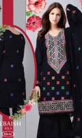 - Cotton Printed Embroidered Shirt, Chiffon Dupatta with Dyed Plain Trouser.