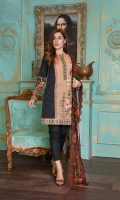 Front Embroidered & Printed Back Printed Sleeves Printed Embroidered Scalloped Digital Printed Crinkle Dupatta Cotton Trouser