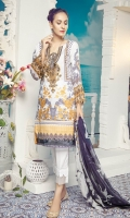 Digital Printed Embroidered Front – 1.25 M Digital Printed Back – 1.25 M Digital Printed Sleeves – 0.66 M Digital Printed Chiffon Dupatta – 2.5 M Dyed Cambric Trouser – 2.5 M Front Neck – 1 PC Sleeves Border – 1.10 M