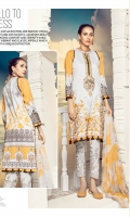 Digital Printed Embroidered Front – 1.25 M Digital Printed Back – 1.25 M Digital Printed Sleeves – 0.66 M Digital Printed Chiffon Dupatta – 2.5 M Dyed Cambric Trouser – 2.5 M Front Neck – 1 PC Sleeves Border – 1 M Trouser Border – 1.10 M