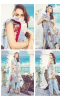 Digital Printed Front – 1.25 M Digital Printed Back – 1.25 M Digital Printed Sleeves – 0.66 M Digital Printed Lawn Dupatta – 2.5 M Dyed Cambric Trouser – 2.5 M Front Motifz – 2 PC Trouser Border – 1.10 M