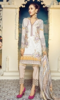 Digital Printed Front – 1.25 M Digital Printed Back – 1.25 M Digital Printed Sleeves – 0.66 M Digital Printed Lawn Dupatta – 2.5 M Dyed Cambric Trouser – 2.5 M Front Motifz – 3 PCs Front Neck Patti – 1.10 M Sleeves Border – 1 M Trouser Border – 1.10 M Duapatta Lace – 7.9 M
