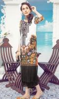 Digital Embroidered Front – 1.25 M Digital Printed Back – 1.25 M Digital Printed Sleeves – 0.66 M Digital Printed Chiffon Dupatta – 2.5 M Dyed Cambric Trouser – 2.5 M Front Neck Patti – 1.10 M Trouser Border – 1.10 M Duapatta Border – 2.25 M