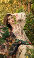 Unstitched Three Piece, Shirt Fabric:Embroidered Lawn  Includes:  Full Embroidered Lawn Front Embroidered Lawn Back Embroidered Lawn Sleeves Digital Printed Chiffon Dupatta Dyed Cotton Trouser