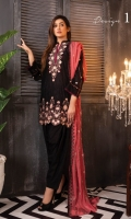 Embroidered Lawn FrontEmbroidered Lawn BackEmbroidered Lawn SleevesEmbroidered Chiffon DupattaDyed Cotton Trouser