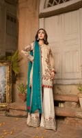 Front : Embroidered Chiffon Hand Embellished (0.8 M) Back: Embroidered Chiffon (0.8 M) Sleeves: Embroidered &Hand Embellished Chiffon (0.66 M) Dupatta: Embroidered Chiffon (2.5 M) Trouser: Raw silk...